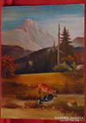 Róka prédával - Szépen megfestett régi kis kép 1950-ből