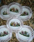 6 db antik gyerek minta-áttört szegély-kézi festéssel tányér