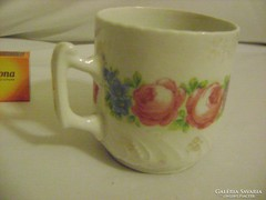 Antik, rózsás, domború mintás porcelán bögre