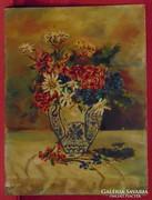 Hervadó virágok antik vázában - Kvalitásos mű 60-as évek