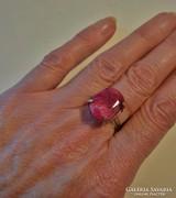 Szép régi valódi rubinköves ezüstözött gyűrű
