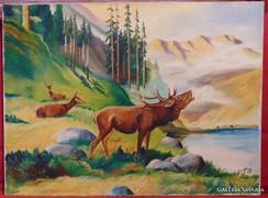 Szarvasbőgés II. - Igényesen megfestett vadjelenet 1968-ból