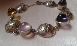 Ametiszt,rózsakvarc,Perli ezüst karkötő