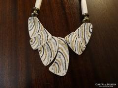 Retro kerámia nyakék arany és ezüst díszítéssel