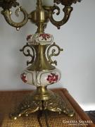 Nagy réz lámpa majolika díszítéssel