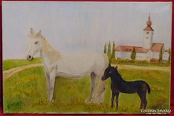 Fehér kanca fekete kis csikóval - Gyönyörű olajfestmény