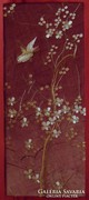 Madárka virágzó cseresznyefával - Selyemkép Japánból