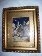 Téli táj, kisméretű gobelin kép keretben