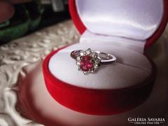 Kísérőgyűrű Valódi rubin brill csiszolás platina ezüst gyűrű