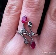 RÓZSABIMBÓ Valódi rubin brill csiszolás, platina ezüst gyűrű