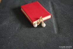 14K arany köves gömb fülbevaló