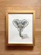 Modern elefánt akvarell