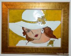 A fehér kalapos nő - tűzzománc kép