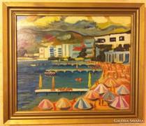 Schéner Mihály festmény, képcsarnokos Tengerparti öböl