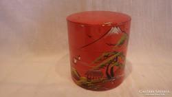 Régi jelzett festett keleti teás doboz