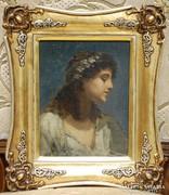Fiatal Osztrák Lány portréja - XIX. század - Jelzett!