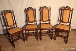 Reneszánsz stílusú faragott nádazott székek!