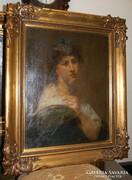 Női portré - XVIII. század - Szignált - Eredeti olajfestmény