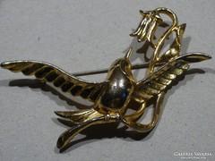 Aranyozott, kolibrit formázó kitűző, jelzett
