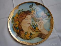 Hollóházi porcelán aranyozott fali tányér