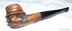 Különleges régi faragott fejes pipa