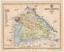 Moson vármegye térkép 1897 II., antik, eredeti