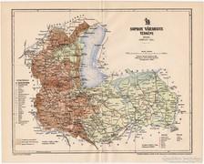 Sopron vármegye térkép 1897, antik, eredeti