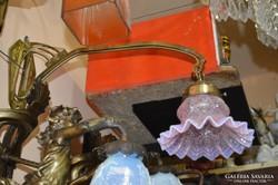Rózsaszín üvegburás réz falikar