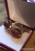 Borostyán kővel foglalt vintage mandzsetta pár