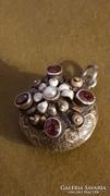 Ezüst antik ötvösékszer medál rubinokkal,édesvizi gyönggyel