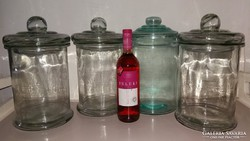 Fedeles üveg tároló edény 4db