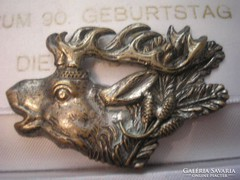 Antik,ezüstözött szarvas bross
