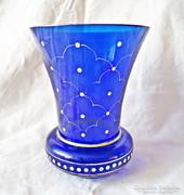 Kék festett aranyozott váza