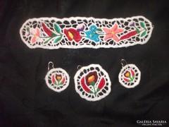 Kalocsai népművész ékszer szett ékszerszett medál karék füli