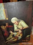 Olajfestmény tetvészkedő nagymamáról