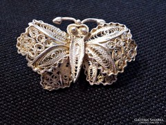 Antik ezüst filigrán lepke bross , kitűző 925