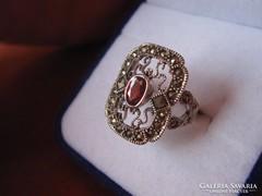 Szecessziós filigrán gránát ezüst gyűrű