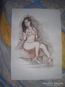 Ülő akt - Lehoczky József akvarellje