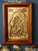 Madonna gyermekével öntött bronz, falikép
