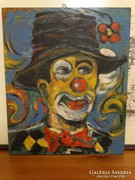 Bohóc, bútorlapra festett olaj kép