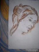 Női fej akvarell, közvetlenül a festőtől / Lehoczky József.
