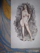 Álló akt -akvarell, közvetlenül a festőtől