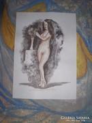 Álló akt virágvázával -akvarell közvetélenül a festőtől LJ.