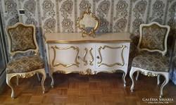 Eredeti antik  ritka barock komód 2 székkel
