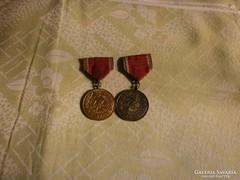Önkéntes  Tüzoltó Szolgálati érem 2 db - 1958 -
