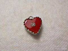 Köves , piros szív medál