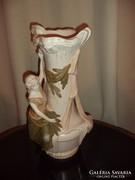 45cm Szecessziós Fajansz figurális váza sorszámozott jelzett