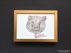 Grizzly Bear Portre modern akvarell