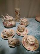 Zsolnay teáskészlet, de nem teljes, lepke mintás