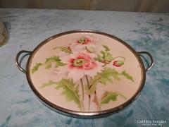 Fajansz tálca, tortatálca, szép állapotban, jelzett, 27 cm